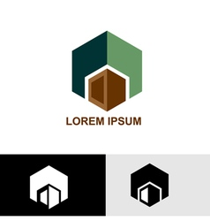 Logo green and brown cube vector image