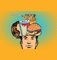 Man with an open head fast food vector