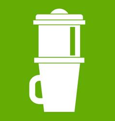 mug for coffee icon green vector image vector image