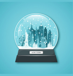 New york city snow globe merry christmas vector