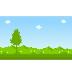 On green background spring landscape vector