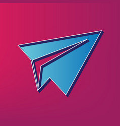 Paper airplane sign blue 3d printed icon vector