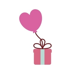 pink gift box balloon heart festive valentine vector image
