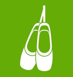 pointe shoes icon green vector image vector image