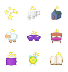 Preparation to sleep icons set cartoon style vector