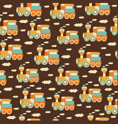 seamless pattern with train toys vector image vector image