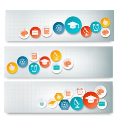 Set of education banners with icons vector