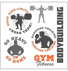 Set of modern Bodybuilding and fitness room logos vector image