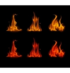 Set of Orange Red Fire Flame Bonfire on Background vector image vector image