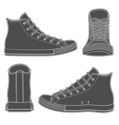 set of with sneakers gumshoes vector image vector image