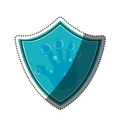 Shield security fingerprints hand vector