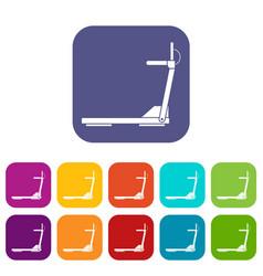 Sport treadmill running road equipment icons set vector