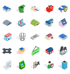 Town hall icons set isometric style vector