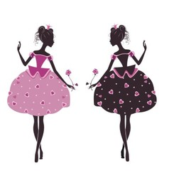 Two princesses vector image vector image