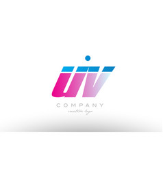 uv u v alphabet letter combination pink blue bold vector image vector image