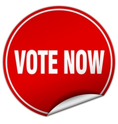 Vote now round red sticker isolated on white vector