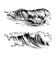 Waves brush ink sketch handdrawn serigraphy print vector