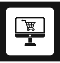 Computer monitor with shopping cart symbol icon vector image