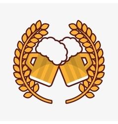 Glass of beer emblem image vector
