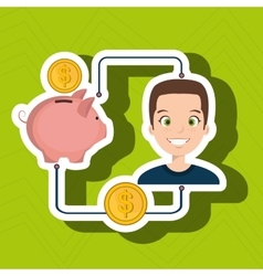 man cartoon piggy currency money vector image
