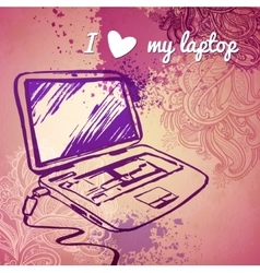 Laptop for girls sketch on a pink vector
