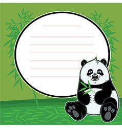 Cute happy baby panda eat bamboo vector