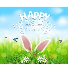 Easter template background rabbit ears sticking vector