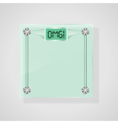 Transparent glass scales with omg text weight loss vector