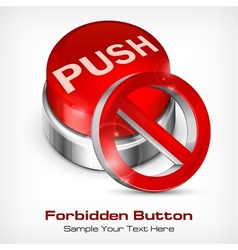 Red button with forbidden icon vector