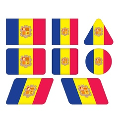 Buttons with flag of andorra vector