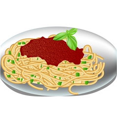 Plate of spaghetti vector