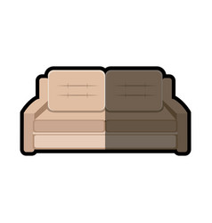 Sofa furniture modern style shadow vector