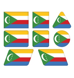 buttons with flag of Comoros vector image