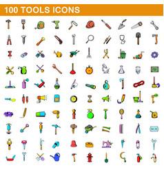 100 tools icons set cartoon style vector