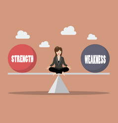 business woman balancing between strength and vector image