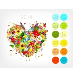 Calendar 2014 with four season heart for your vector
