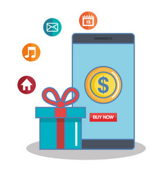 Buy now in the cellphone gift box app online vector