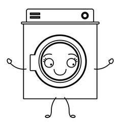 monochrome cartoon silhouette of washing machine vector image