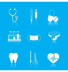 Health care tools icons set vector