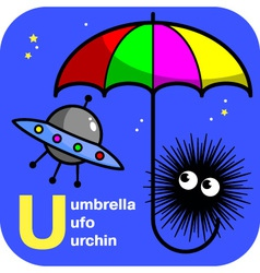 Abc umbrella ufo urchin vector