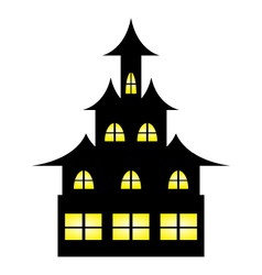 Castle witches on halloween vector