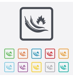 Hot chili peppers sign icon spicy food symbol vector