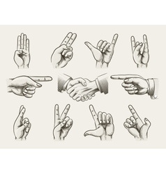 Set of vintage style hand gestures vector image