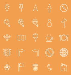 Map line icons on orange background vector