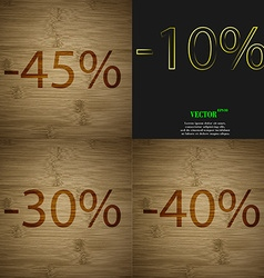 10 30 40 icon set of percent discount on abstract vector
