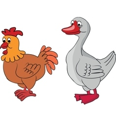 Cartoon goose and chicken vector