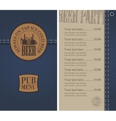 Menu for the pub on denim vector