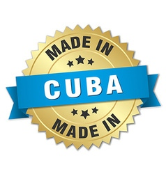 Made in cuba gold badge with blue ribbon vector