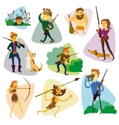Funny cartoon hunters set hunter cartoon set vector
