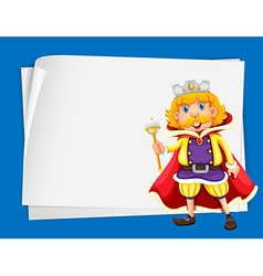Paper design with king wearing crown vector image